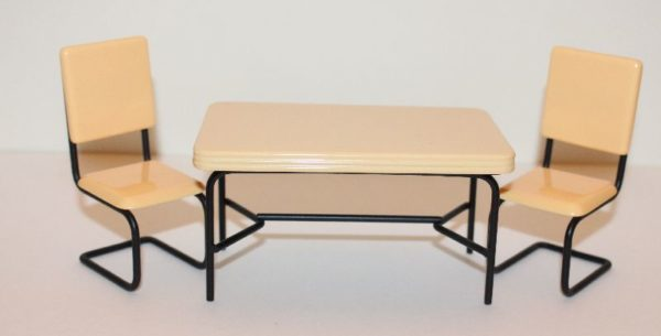 Yellow and Black Metal Table and Chairs