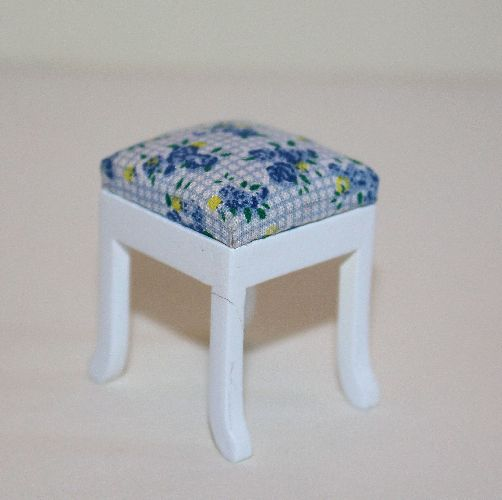 White and Blue Floral Stool