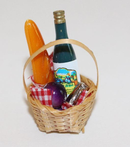 Picnic Basket with Food and Wine