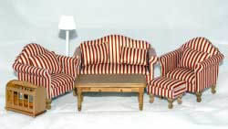 Red and white striped lounge suite