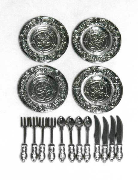 Silver plates and cutlery