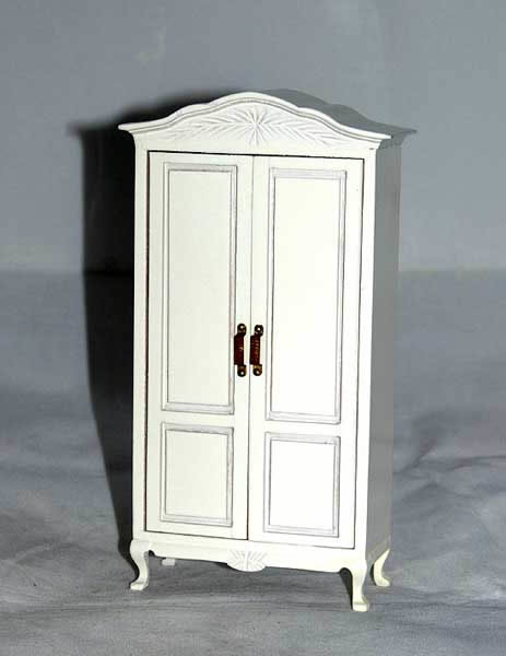 White wardrobe with opening doors
