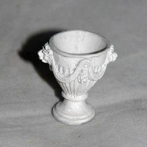 Grey round garden urn with round base