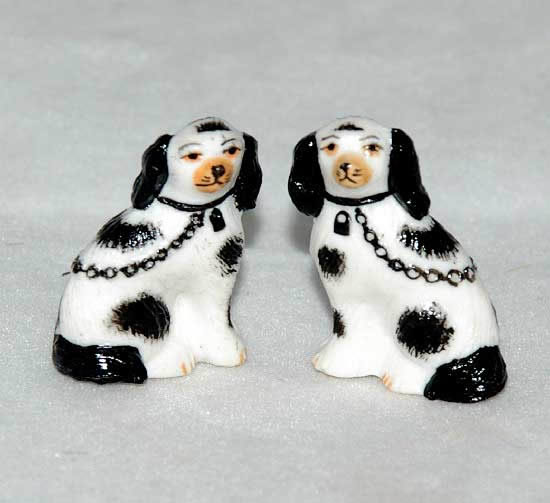Miniature Staffordshire dogs, black and white