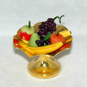 Gold fruit platter with assorted fruit