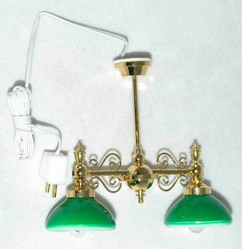 Pendant light with green shades