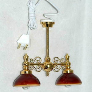 Pendant light with red shades