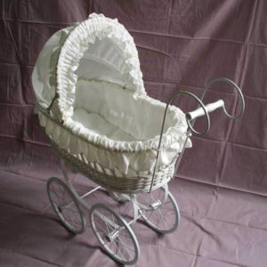 White pram with white fabric hood