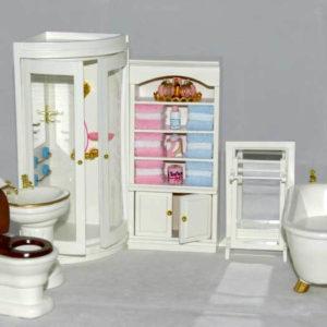 Bathroom fittings, cream, 7 piece