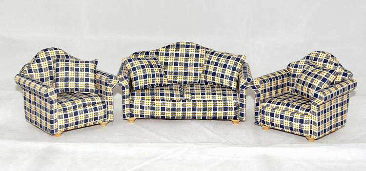 3 piece lounge suite, blue checked
