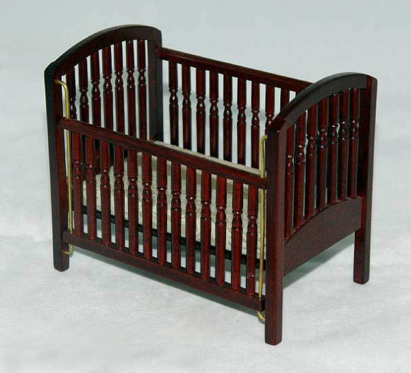 Cot with sliding side and mattress, mahogony