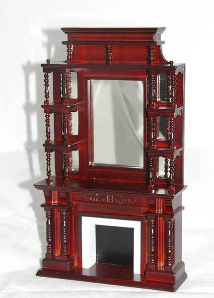 Tall Victorian fireplace with mirror