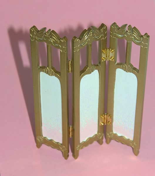 Folding screen, white with gold frame