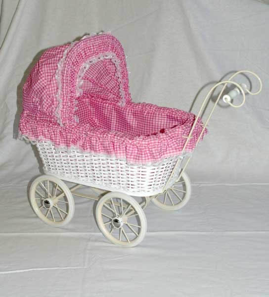 Pink and white checked dolls pram