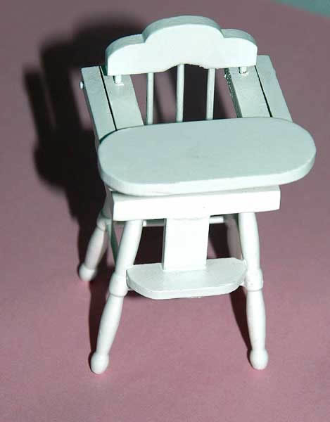 Highchair, white with lifting table top with pink trim