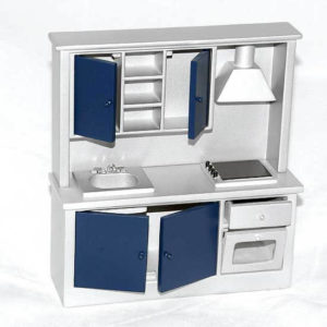 Silver with navy blue doors kitchen wall unit