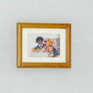 Wooden framed cartoon train picture