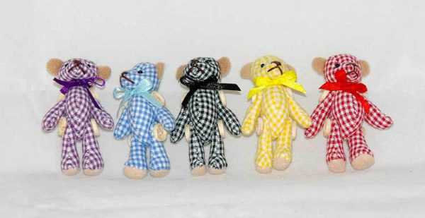 Jointed mini bears ( blue, beige and tartan only )