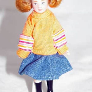 Girl doll pink  jumper & piggy tails Colour change