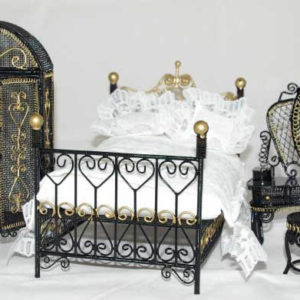 Black wire and gold 3 piece bedroom set