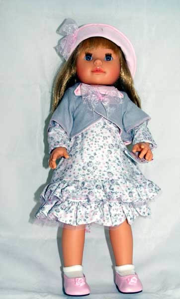Paola Reina Blonde doll, pink and grey outfit