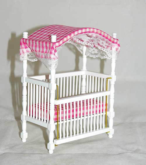 Canopy Cot Pink And White Checked Insert The Doll House
