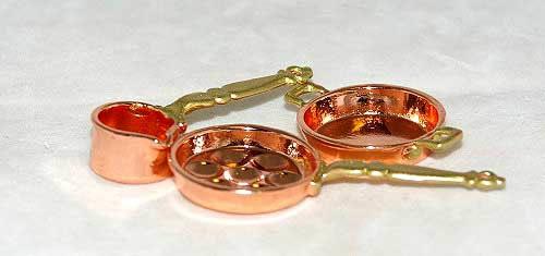 Copper 3 piece cooking set