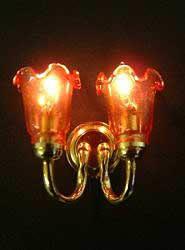 Amber tulip twin wall lamp