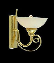 Brass wall lamp with white shade