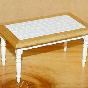 White tiled kitchen table with pine base