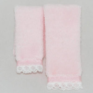Pink folded pair of towels for the miniature dollhouse bathroom