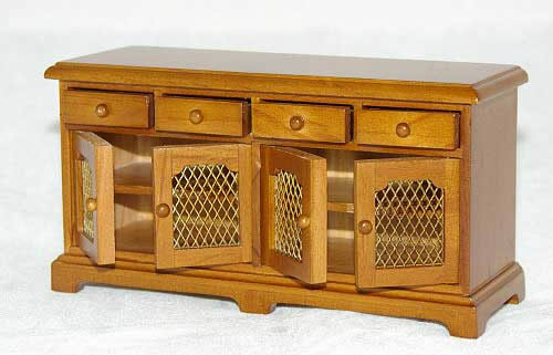 Walnnut cabinet with 4 opening drawers and doors