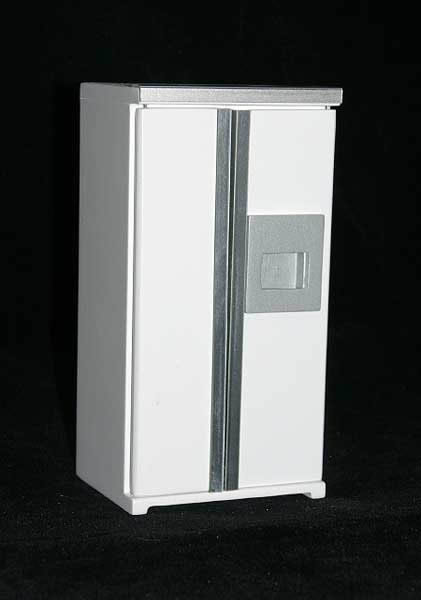 White fridge, opening doors and drawers