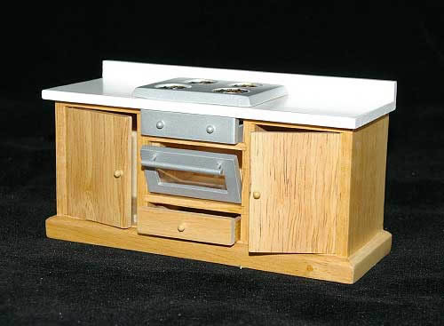 Kitchen stove pine with white bench