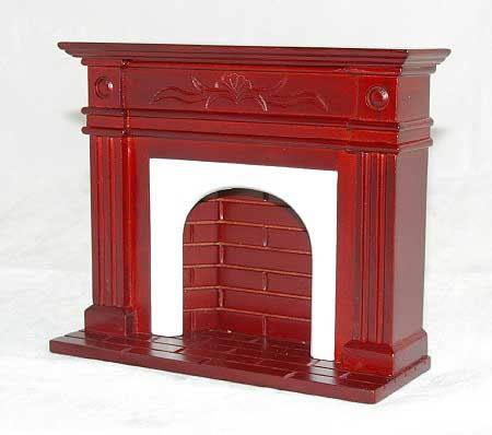 Mahogany  fireplace with brick detail