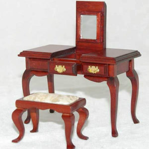 Vanity mahogany with lifting mirror, opening drawers and chair