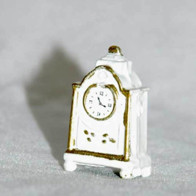 white mantle clock