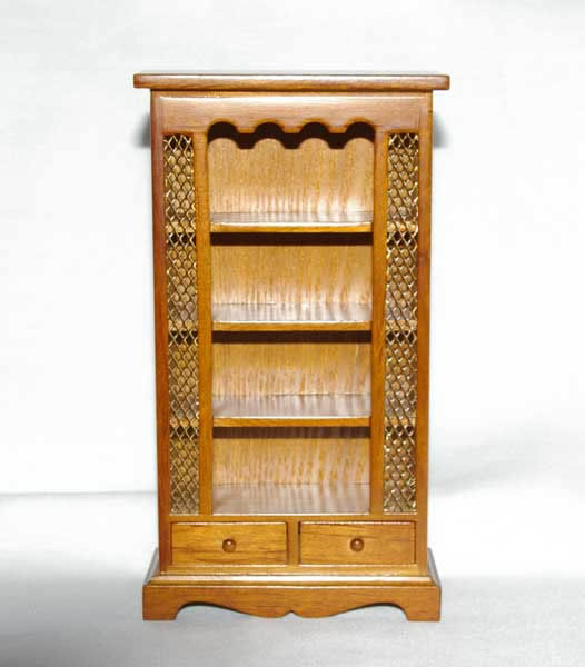 Walnut  bookcase with 2  drawers