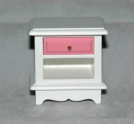 Bedside cabinet, white with pink drawer
