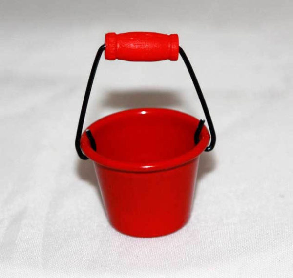 Bucket, red. Silver only