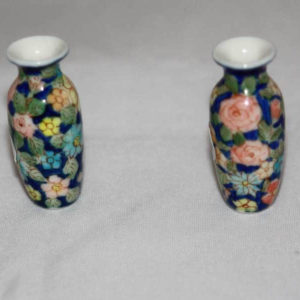 Dark blue floral vases