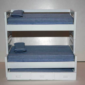 Bunk bed with trundle - blue /white covers