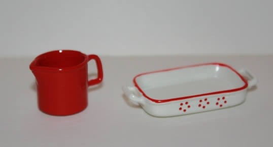 Red and cream  serving dish and jug