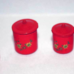 Canisters, red set of 4