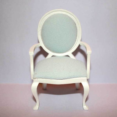 white carver chair with pale blue fabric