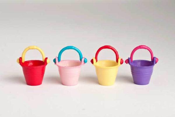 4 piece set coloured buckets