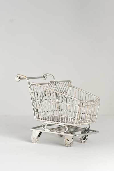 Silver wire shopping trolley  used look