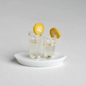 2 glasses of chilled water on platter