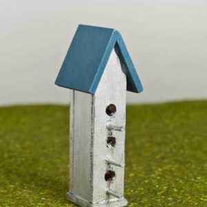 Bird house with blue roof