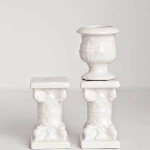 Set of 2  porcelain short corinthian columns